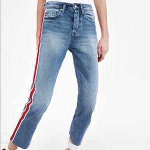 NWT Zara Straight Leg Denim with Red Stripe